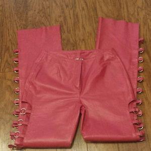 Pink leather womens motorcycle biker pants